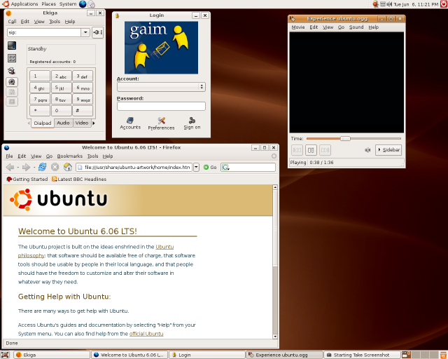 Applications running on the Ubuntu live CD