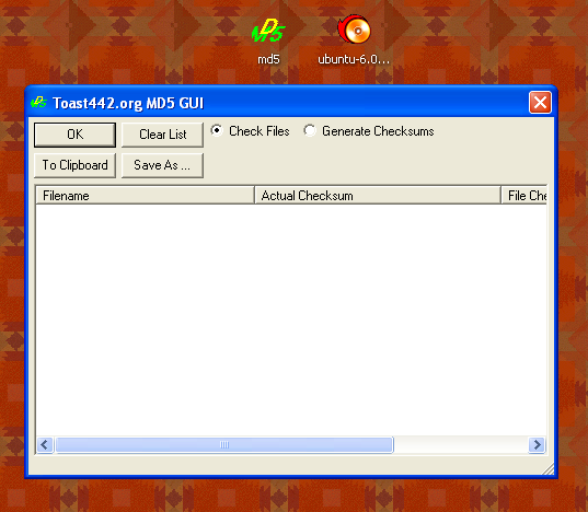 md5gui program running on the Windows desktop