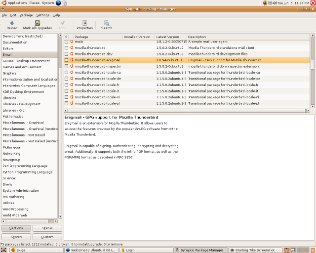 Synaptic running on the Ubuntu live CD