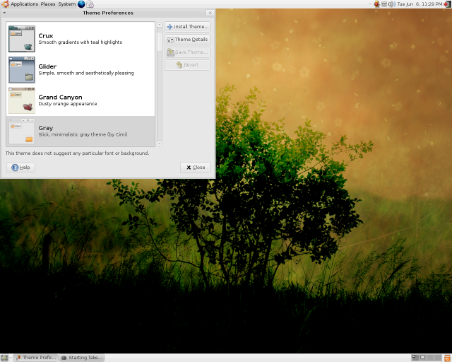 Changing the theme in Ubuntu 6.06 live CD