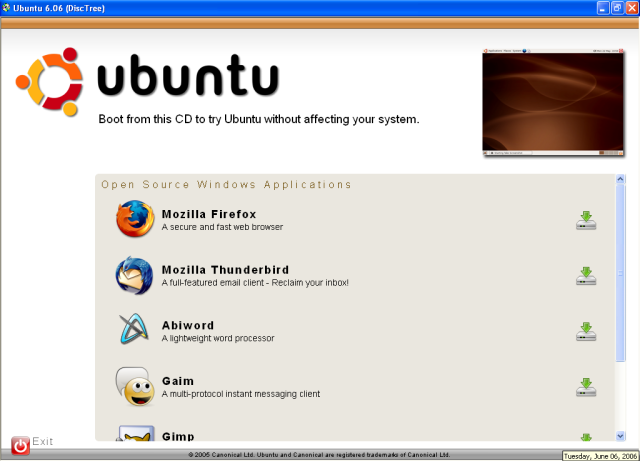 Free programs for Windows on the Ubuntu live CD