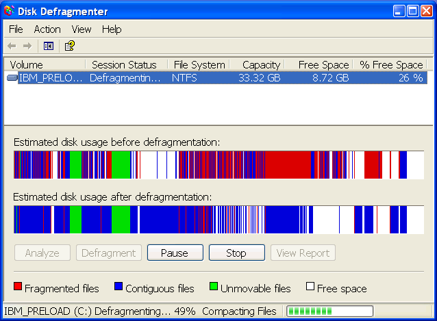 Defragmenting a Windows hard drive